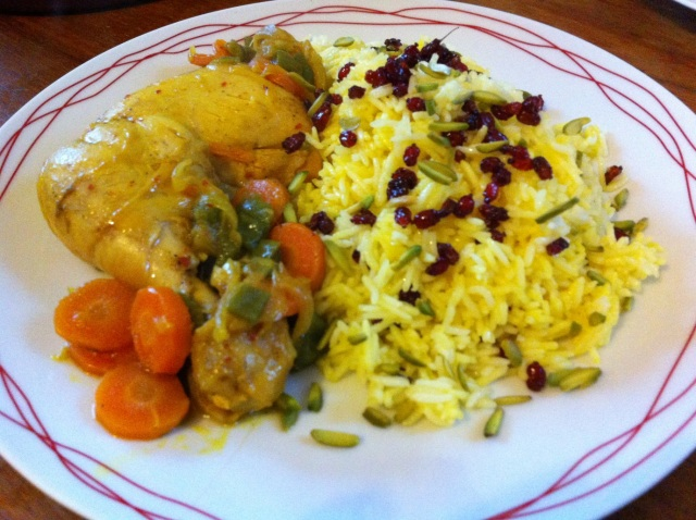 Barberry Rice with Saffron Chicken