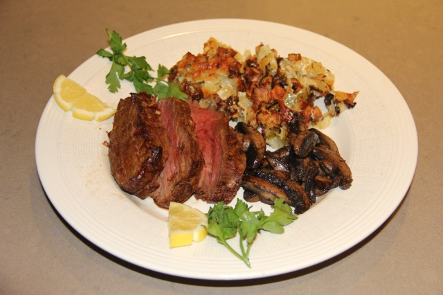 Serve the glazed beef with the spiced potatoes and another choice of side dish.