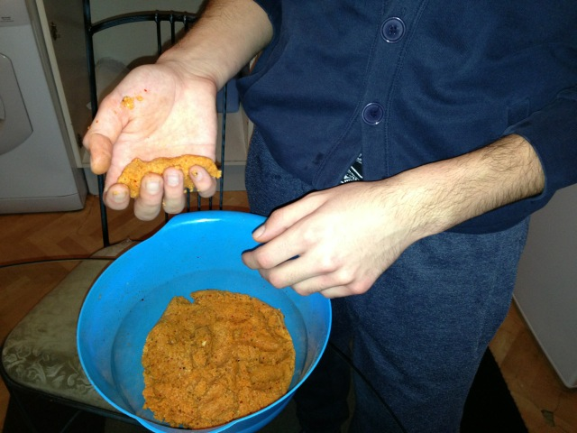 You need to grab some of the mixture and give it carrot shape.