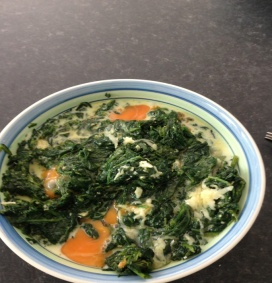 Place the spinach in a large bowl and add the ½ cup of milk, eggs, breadcumbs,black pepper and salt.